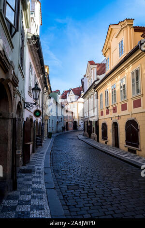 Narrow Alley With Old Houses In The Old Town Of Prague In The Czech Republic