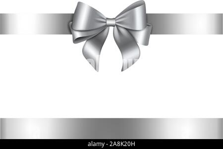 silver bow and ribbon for christmas and birthday decorations - Stock Photo