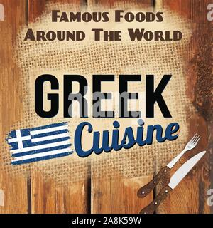 Famous foods around the World vintage card. Greek cuisine retro style poster, vector illustration - Stock Photo