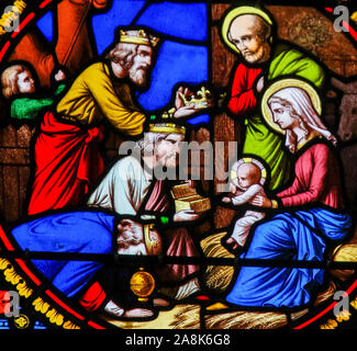 Stained Glass in the Chapel of Notre-Dame-des-flots (1857) in Sainte Adresse, Le Havre, France, depicting the Epiphany or Visit of the Three Kings in - Stock Photo