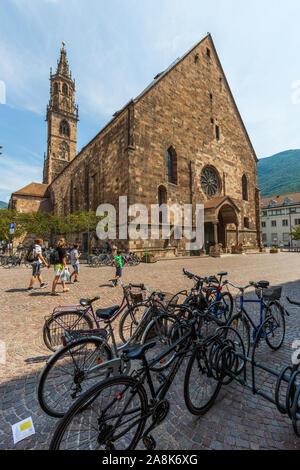 BOLZANO, ITALY - JULY 20, 2019 -  Santa Maria Assunta Cathedral in the centre of old Bolzano - Stock Photo
