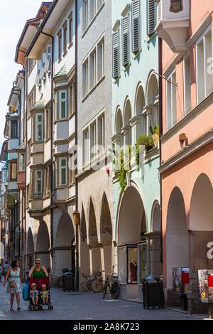 BOLZANO, ITALY - JULY 20, 2019 -  The centre of old Bolzano, with its colored houses - Stock Photo