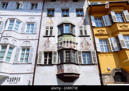 BOLZANO, ITALY - JULY 20, 2019 -  Piazza del Municipio is the centre of old Bolzano, with the city hall and its neo-baroque stuccoes - Stock Photo