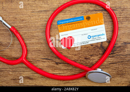 KOELN, GERMANY 2019-11-01 Organ Donation Card published by: Federal Center for Health Education (BZgA) in Germany - Stock Photo