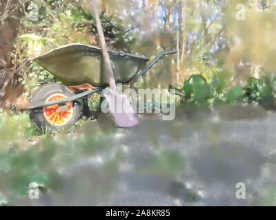 watercolor illustration: Wheelbarrow filled with leaves and branches with a fanned spade after gardening in spring, gardening - Stock Photo