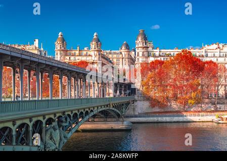 Paris, panorama in autumn, the Bir-Hakeim bridge and beautiful parisian buildings, view of the Seine - Stock Photo