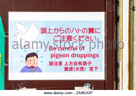 A sign warns pedestrians to beware of pigeon droppings at the Tsukiji Outer Market in Tokyo, Japan. - Stock Photo