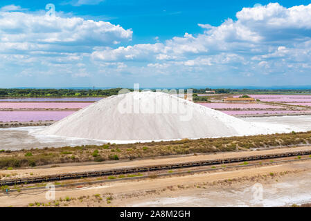 Aigues-Mortes, Salins du Midi, panorama with salt marshes and pink lakes - Stock Photo