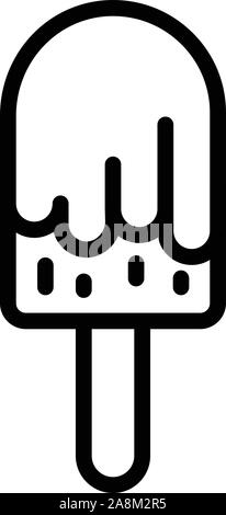Glazed ice cream on a stick icon, outline style - Stock Photo