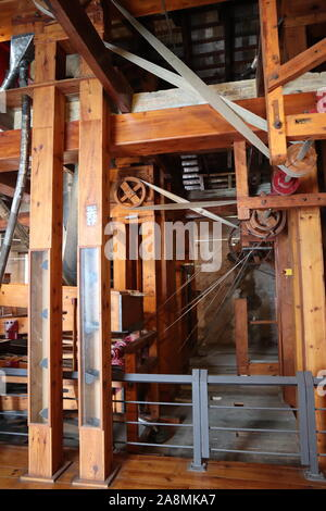 Rice mill museum housing old industrial machines for sorting and preparing rice for sale and consumption in Valencia Spain - Stock Photo