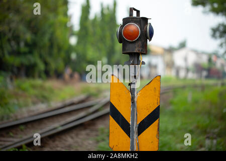 Vietnamese Railway Signal and track Infrastructure from French Colonial period - Stock Photo