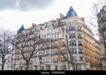 Paris, pink facade, boulevard Richard-Lenoir, typical building in winter