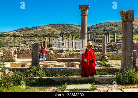 Volubilis Unesco is one of Morocco's best-preserved Roman ruins close to the city of Meknes. Volubilis was excavated by the French 1912-1956 Morocco - Stock Photo