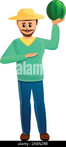 Happy farmer watermelon icon. Cartoon of happy farmer watermelon vector icon for web design isolated on white background - Stock Photo