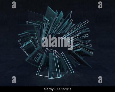 Futuristic shape. Computer generated abstract background. 3D rendering Stock Photo