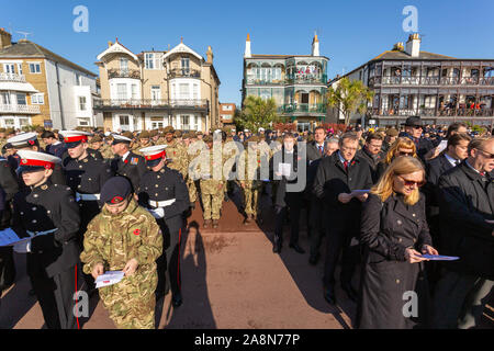 Southend on Sea, UK. 10th Nov, 2019. Remembrance Day Service at the Southend Cenotaph, Clifftown Parade, in front of the Lutyens designed war memorial. The service is attended by local dignitaries, including the Mayor Southend and both local MPs, Sir David Amess and James Dudderidge. Penelope Barritt/Alamy Live News - Stock Photo