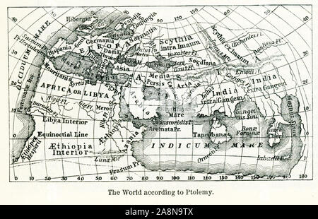 Pictured here is the world according to Ptolemy, an Alexandrian astronomer who lived around 150 A.D. His map consisted mainly of lists of places marked on the maps that were circulating at the time and that he made his authorities. He added latitudes and longitudes. - Stock Photo
