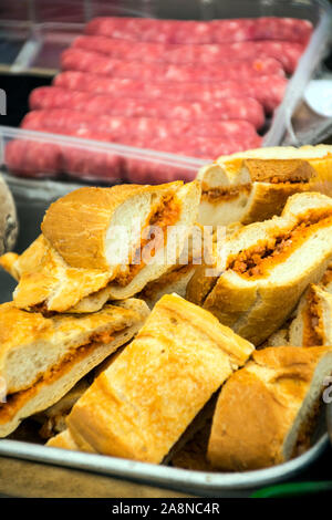 Several chorizo sandwiches served on a plate - Stock Photo