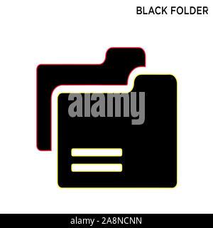 Black folder icon education concept symbol design - Stock Photo
