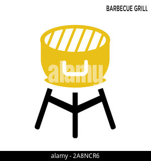 Barbecue grill icon with white background simple element illustration food concept - Stock Photo