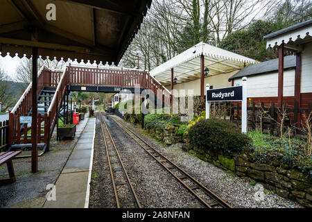The famous miniature ride along railway museum, popular with families and children, One of Staffordshire's favourite tourist attractions - Stock Photo
