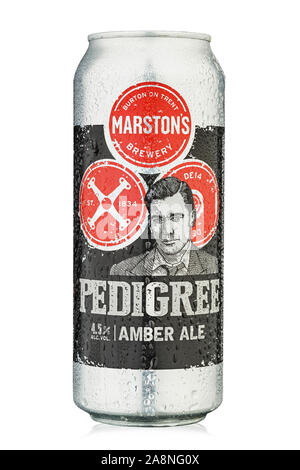 Kiev, Ukraine - October 30, 2019. Beer  Pedigree from the producer Marston's, United Kingdom. English Bright Ale. Isolated on white. Clipping path - Stock Photo