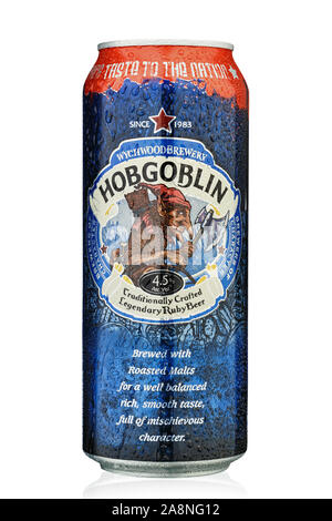 Kiev, Ukraine - October 30, 2019. Beer  Hobgoblin from the producer Wychwood Brewery, United Kingdom. English Bright Ale. Isolated on white. Clipping - Stock Photo