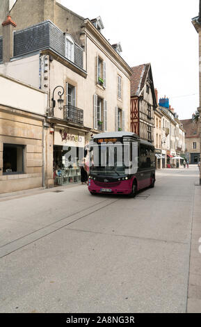 Dijon, Burgundy / France - 27 August 2019: electric public transport bus in the historic old town of Dijon in Burgundy - Stock Photo