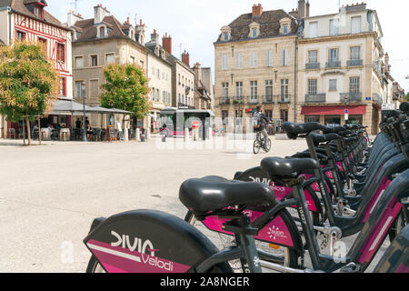 Dijon, Burgundy / France - 27 August 2019: city bike rental station for tourists and visitors in the city of Dijon in Burgundy - Stock Photo