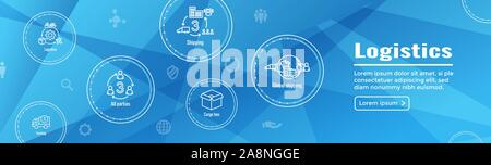 Logistics icon set and web header banner w buildings, trucking, people and shipping box - Stock Photo