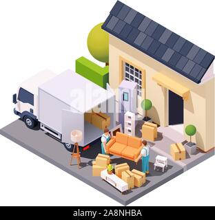 Vector isometric movers at house relocation - Stock Photo