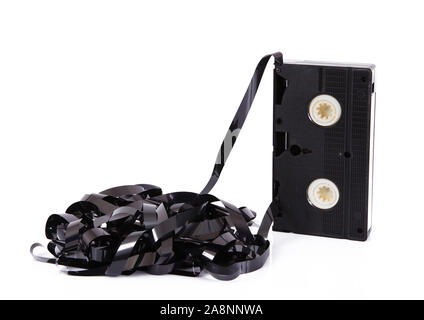 old video cassette tape on white background - Stock Photo