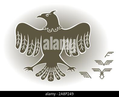 Eagle in the style of images of ancient peoples. EPS10 vector illustration. - Stock Photo