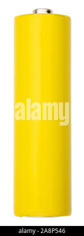 Blank yellow AA alkaline battery (Mignon) or NiMH rechargeable cell template isolated on white background - Stock Photo