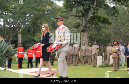 Brig. Mark Thornhill CBE, British (right) with British High Commissioner to Kenya, Jane Marriott lay wreaths during the commemoration ceremony of World War Veterans held at the Commonwealth War Graves Cemetery that was opened in 1941 by the military authorities. It contains 1,952 Commonwealth burials of the Second World War, 11 of which are unidentified. Nairobi was the headquarters of the East African Force. - Stock Photo