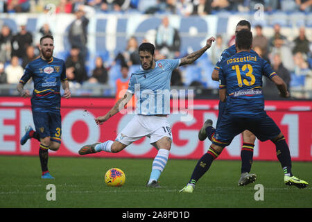 Rome, Italy. 10th Nov, 2019. Rome, Italy - November 10, 2019: Luis Alberto (LAZIO) in action during the Italian Serie A soccer match SS Lazio and Lecce, at Olympic Stadium in Rome on 10/11/2019 Credit: Independent Photo Agency/Alamy Live News - Stock Photo