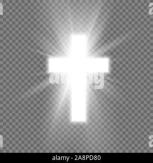 White Cross with glow symbol of christianity. Symbol of hope and faith. Vector illustration isolated on transparent background - Stock Photo