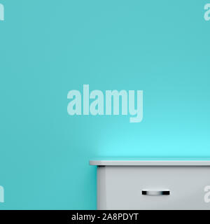chest of drawers and wall with a place for your information. 3D rendering - Stock Photo