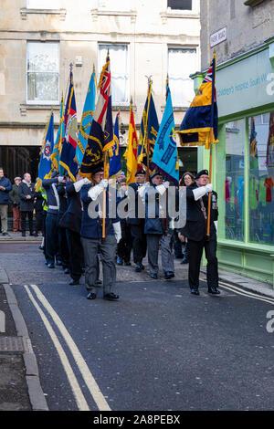 Flag Bearers Trowbridge Royal British Legion Remembrance Sunday Parade, 10th November 2019, arrives at the War Memorial in Trowbridge Park, Wiltshire UK - Stock Photo