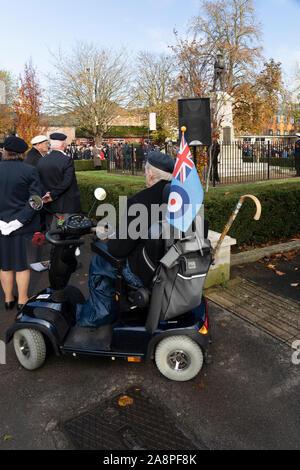 Trowbridge Royal British Legion Remembrance Sunday Parade, 10th November 2019, arrives at the War Memorial in Trowbridge Park, Wiltshire UK - Stock Photo