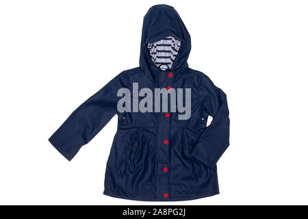 Rain jacket. Close-up of elegant waterproof marine blue zipper windbreaker jacket and hood for girls isolated on a white background. Kids fashion for - Stock Photo