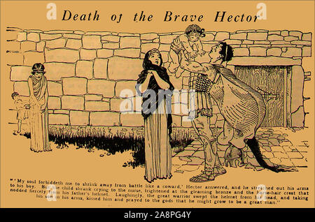 A vintage cartoon style illustration showing Hector the Greek and Roman mythological hero just before he died in battle. He was a Trojan prince and hero in the Trojan Wars. Traditionally he was   the first-born son of King Priam and Queen Hecuba,  a descendant of Dardanus and Tros, the founder of Troy and was married to Andromache, with whom he had an infant son, Scamandrius (whom the people of Troy called Astyanax) (shown in the illustration). - Stock Photo
