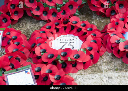Trowbridge Royal British Legion Remembrance Sunday Parade, 10th November 2019. Poppy wreath marking the 75th Anniversary of D-Day. Wiltshire, England - Stock Photo