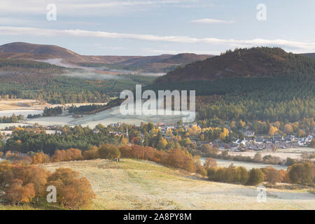 The Village of Braemar in the Cairngorms National Park on a Frosty Morning in Autumn - Stock Photo