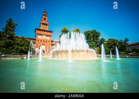 Sforza Castle or Castello Sforzesco aerial panoramic view. Sforza Castle is located in Milan city in northern Italy. - Stock Photo