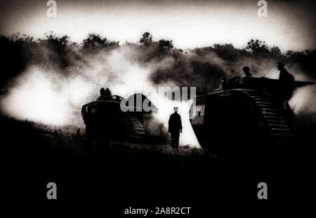 British tanks in action near Amiens in 1917. At the start of World War One, Amiens was the Advance Base for the British Expeditionary Force. It was captured by the German Army on 31 August 1914, but recaptured by the French on 28 September. The proximity of Amiens to the Western Front and its importance as a rail hub, made it a vital British logistic centre. Amiens was one of the key objectives of the German Spring Offensive which was launched on 27 March 1918 as Operation Michael. - Stock Photo