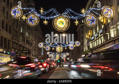 LONDON, UK - 17TH NOVEMBER 2018: A view along the Strand showing the Northbank Christmas decorations at night. - Stock Photo
