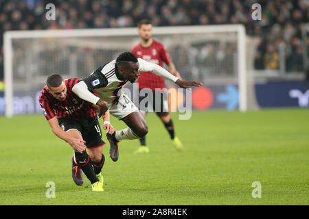 Torino, Italy. 10th Nov, 2019. contrast duro on 14 blaise matuidi, juventus)during Juventus FC vs AC Milan, Italian Soccer Serie A Men Championship in Torino, Italy, November 10 2019 - LPS/Claudio Benedetto Credit: Claudio Benedetto/LPS/ZUMA Wire/Alamy Live News - Stock Photo