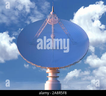 Huge satellite antenna dish for communication and signal reception out of the planet Earth. Clipping Path Included. 3D illustration. - Stock Photo