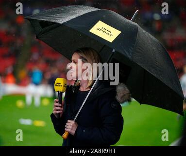 LONDON, ENGLAND. NOVEMBER 09: Kelly Smith sky present during Women's International Friendly between England Women and Germany Women at Wembley stadium - Stock Photo